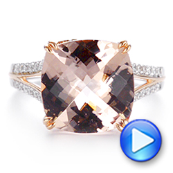 14k Rose Gold Morganite And Diamond Fashion Ring - Video -  105009 - Thumbnail