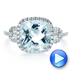 14k White Gold Aquamarine And Diamond Halo Ring - Video -  105011 - Thumbnail