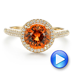 Spessartite Garnet and Diamond Halo Ring - Interactive Video - 105016 - Thumbnail