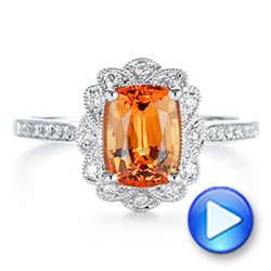 Spessartite Garnet and Floral Diamond Halo Ring - Interactive Video - 105019 - Thumbnail