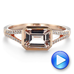 14k Rose Gold Emerald Cut Morganite And Diamond Ring - Video -  105021 - Thumbnail