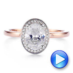 18K Rose Gold & Platinum Two-Tone Diamond Petite Halo Engagement Ring - Interactive Video - 105023 - Thumbnail