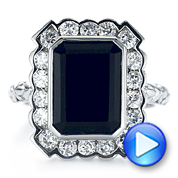 14k White Gold Custom Onyx And Diamond Halo Fashion Ring - Video -  105055 - Thumbnail