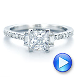Three-stone Baguette Diamond Engagement Ring - Interactive Video - 105072 - Thumbnail