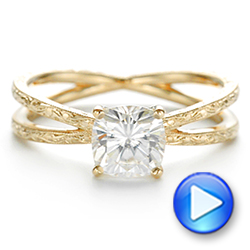 Hand Engraved Solitaire Moissanite Engagement Ring - Interactive Video - 105107 - Thumbnail