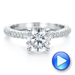 14k White Gold Pave Diamond Hidden Halo Engagement Ring - Video -  105116 - Thumbnail