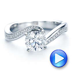 18K White Gold Custom Swirled Wrap Diamond Engagement Ring - Interactive Video - 105120 - Thumbnail
