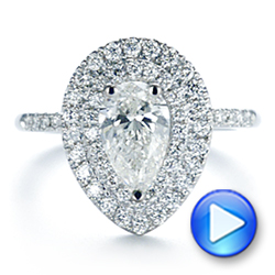 18K White Gold Dainty Double Halo Pear Diamond Engagement Ring - Interactive Video - 105121 - Thumbnail