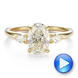 14k Yellow Gold Three Stone Oval And Pear Diamond Engagement Ring - Video -  105122 - Thumbnail