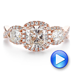 14k Rose Gold Three Stone Cushion Diamond Criss Cross Engagement Ring - Video -  105123 - Thumbnail