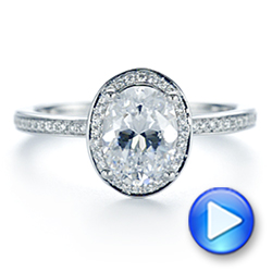 18k White Gold Oval Diamond Halo Engagement Ring - Video -  105128 - Thumbnail