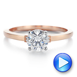 14k Rose Gold Two-tone Diamond Engagement Ring - Video -  105130 - Thumbnail