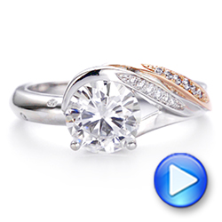 18k Rose Gold Custom Two-tone Moissanite And Diamond Wrap Engagement Ring - Video -  105158 - Thumbnail
