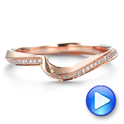 18k Rose Gold Contoured Diamond Wedding Ring - Video -  105159 - Thumbnail