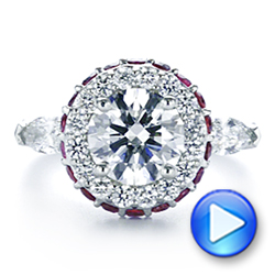 Diamond and Ruby Halo Engagement Ring - Interactive Video - 105160 - Thumbnail