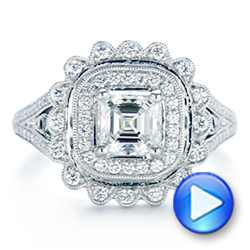 14K White Gold Floral Double Halo Celtic Knot Diamond Engagement Ring - Interactive Video - 105162 - Thumbnail