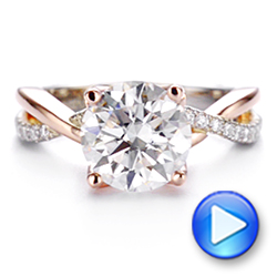 14k Rose Gold Floral Two-tone Moissanite And Diamond Engagement Ring - Video -  105163 - Thumbnail