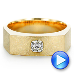 18k Yellow Gold Cushion Cut Diamond Men's Band - Video -  105165 - Thumbnail