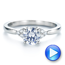 18k White Gold Minimalist Cluster Diamond Engagement Ring - Video -  105177 - Thumbnail