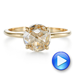 14k Yellow Gold Solitaire Rose Cut Diamond Engagement Ring - Video -  105186 - Thumbnail