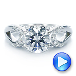 14k White Gold Filigree Split Shank Diamond Engagement Ring - Video -  105194 - Thumbnail