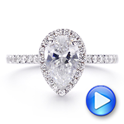 18K Gold And 14k Rose Gold Two-tone Pear Diamond Halo Engagement Ring - Video -  105215 - Thumbnail