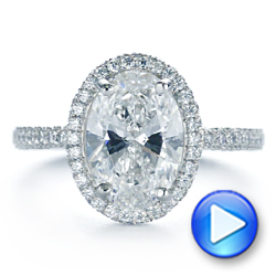 Platinum Pave Diamond Halo Engagement Ring - Video -  105230 - Thumbnail