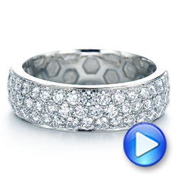 Platinum Men's Diamond Pave Hexagon Eternity Band - Video -  105233 - Thumbnail