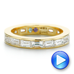 18k Yellow Gold Baguette Diamond Wedding Band - Video -  105294 - Thumbnail