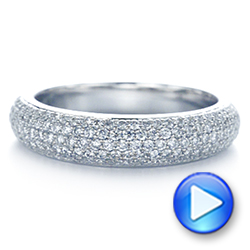 14k White Gold Five Row Pave Diamond Wedding Band - Video -  105296 - Thumbnail
