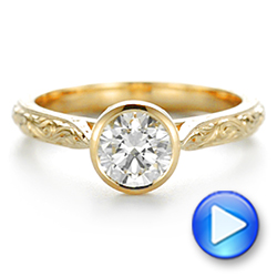 18k Yellow Gold Hand Engraved Bezel Solitaire Diamond Engagement Ring - Video -  105297 - Thumbnail