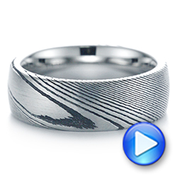 White Tungsten And Damascus Men's Wedding Band - Video -  105308 - Thumbnail