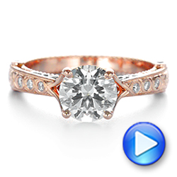 14k Rose Gold And Platinum Two-tone Ruby And Diamond Vintage-inspired Engagement Ring - Video -  105312 - Thumbnail