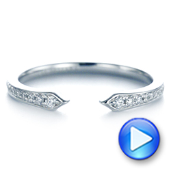 14k White Gold Open Stackable Women's Diamond Wedding Band - Video -  105315 - Thumbnail