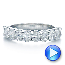 18k White Gold Oval Diamond Half Eternity Wedding Band - Video -  105318 - Thumbnail