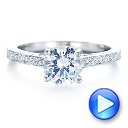 Platinum Platinum Vintage-inspired Diamond Engagement Ring - Video -  105367 - Thumbnail