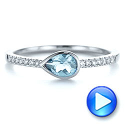 14k White Gold Aquamarine And Diamond Fashion Ring - Video -  105399 - Thumbnail