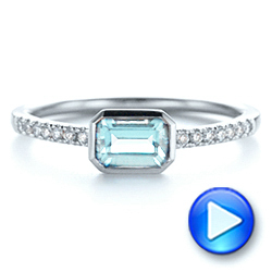 18k White Gold 18k White Gold Aquamarine And Diamond Fashion Ring - Video -  105400 - Thumbnail