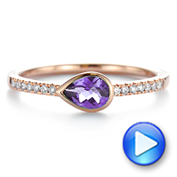 14k Rose Gold Pear Shaped Amethyst And Diamond Fashion Ring - Video -  105402 - Thumbnail