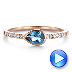 14k Rose Gold Pear Shaped London Blue Topaz And Diamond Fashion Ring - Video -  105403 - Thumbnail