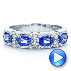 14k White Gold Blue Sapphire And Diamond Wedding Ring - Video -  105421 - Thumbnail