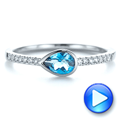 14k White Gold Pear London Blue Topaz And Diamond Stacking Ring - Video -  105434 - Thumbnail