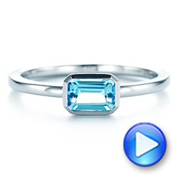 14k White Gold Blue Topaz Emerald Cut Fashion Ring - Video -  105436 - Thumbnail