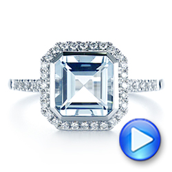 14k White Gold Emerald Cut Aquamarine And Diamond Halo Ring - Video -  105445 - Thumbnail