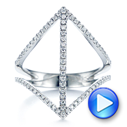 14k White Gold Contemporary Openwork Diamond Fashion Ring - Video -  105495 - Thumbnail