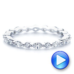 18k White Gold Custom Marquise And Round Diamond Eternity Wedding Band - Video -  105700 - Thumbnail