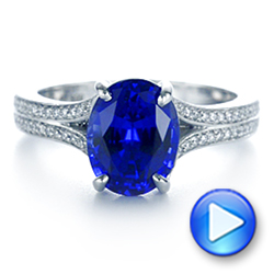 Platinum Blue Sapphire And Diamond Engagement Ring - Video -  105712 - Thumbnail
