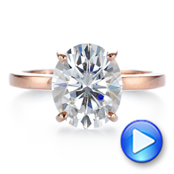14k Rose Gold Oval Moissanite And Diamond Engagement Ring - Video -  105715 - Thumbnail