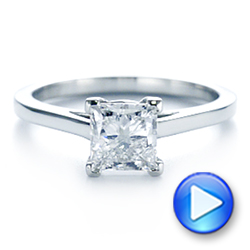 Platinum Peekaboo Blue Sapphire And Diamond Solitaire Engagement Ring - Video -  105718 - Thumbnail