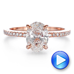 14k Rose Gold Classic Oval Diamond Engagement Ring - Video -  105741 - Thumbnail